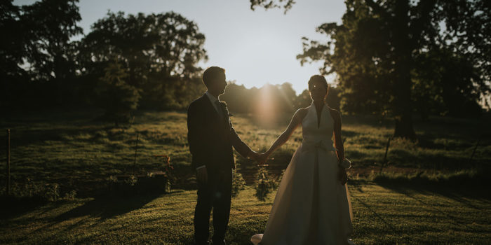 wedding picture of bride and groom at Larchfield Estate in Lisburn