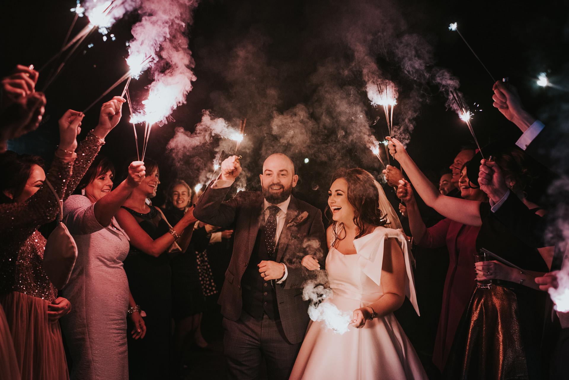 sparklers night shot at the wedding at ballymagarvey village